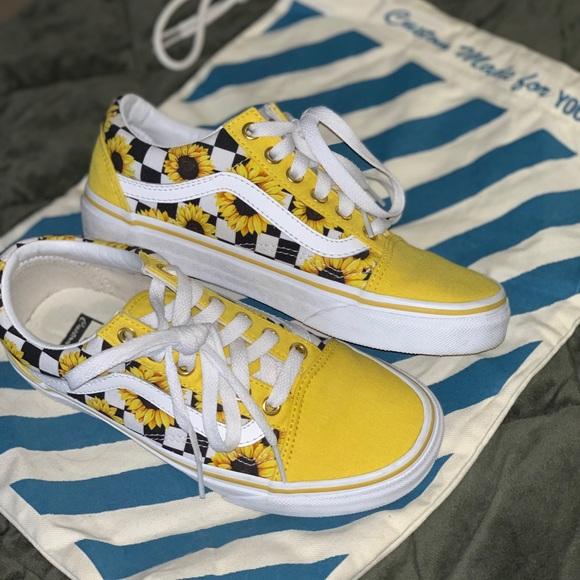 Custom Sunflower Vans Womens Sz